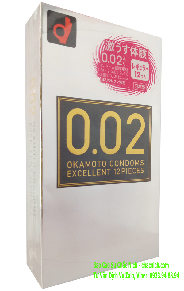 Bao cao su siêu mỏng Okamoto 0.02 Excellent (Hộp 12)