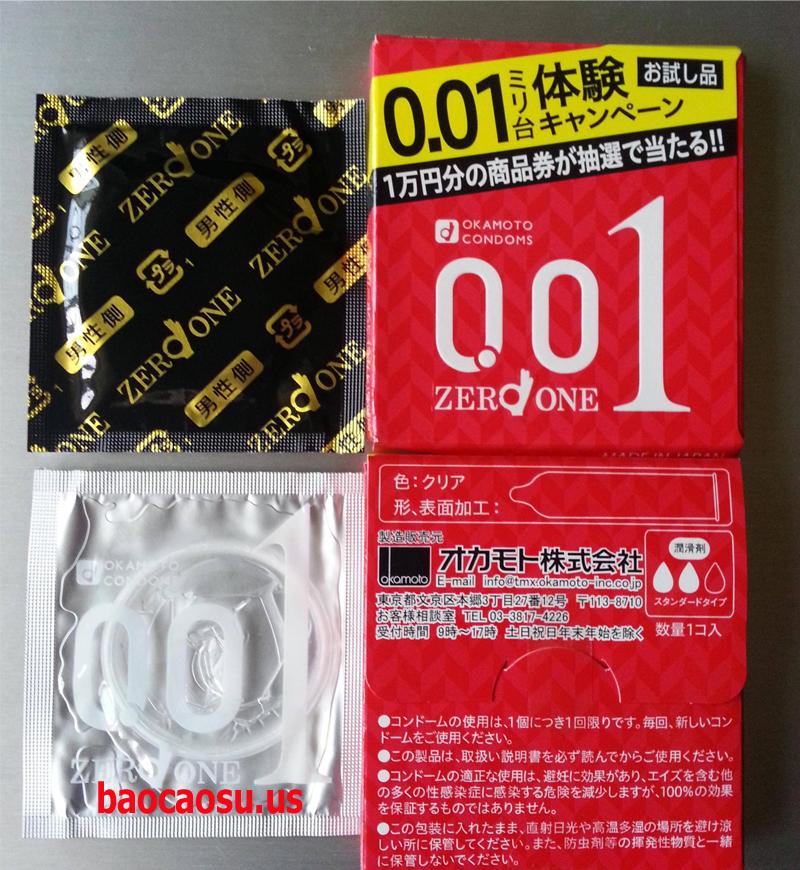 Bao cao su Okamoto 0.01mm ( Bao Cao Su Cực Siêu Mỏng Không Mùi )