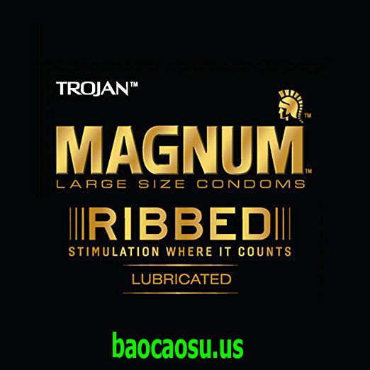 Bao cao su kích thước lớn có gân Trojan Magnum Ribbed