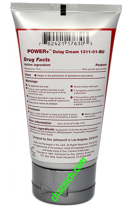 Gel Bôi Chống Xuất Tinh Sớm Doc Johnson Power Delay Cream